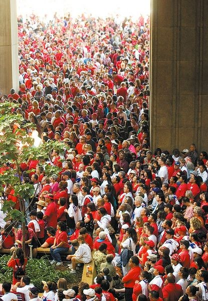 Thousands of red shirted conservative Christians converged on the Hawai`i State Capitol in 2010 to protest Civil Union legislation.