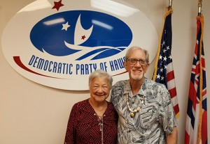 Newly elected Vice-Chair, Helen Raeur and Chair, Scott Foster of the Democratic Party of Hawaii's Kupuna Caucus.